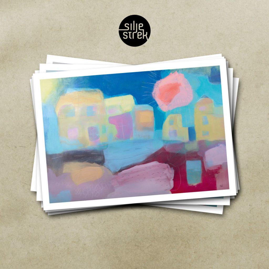 NABOER NEDE I GATA <br><br> Kunstkort (4 sider A6) med konvolutt pakket i cellofan, selges enkeltvis, og i pakker med 6 ulike motiver.