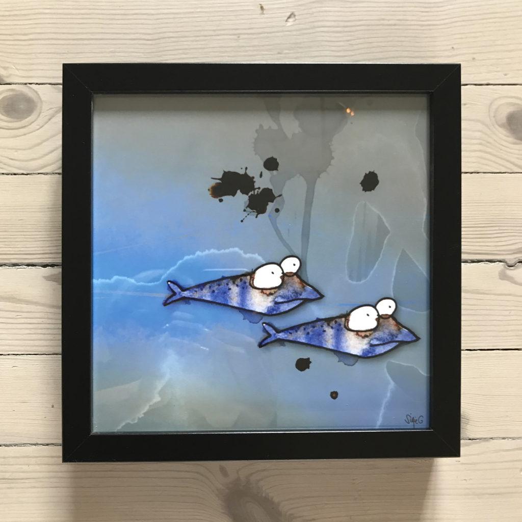 FISKETUR <br><br> Ytre mål 25x25 cm | Foto innrammet i sort ramme