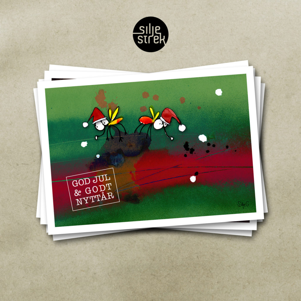 TO FLUER PÅ EN LORT <br><br>Julekort (4 sider A6) med konvolutt pakket i cellofan, selges enkeltvis, og i pakker med 5 ulike motiver.