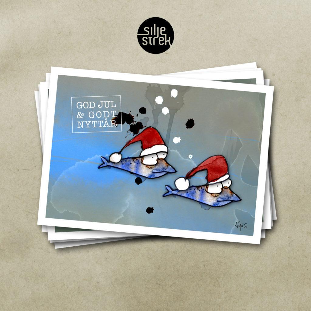 FISKETUR <br><br>Julekort (4 sider A6) med konvolutt pakket i cellofan, selges enkeltvis, og i pakker med 5 ulike motiver.