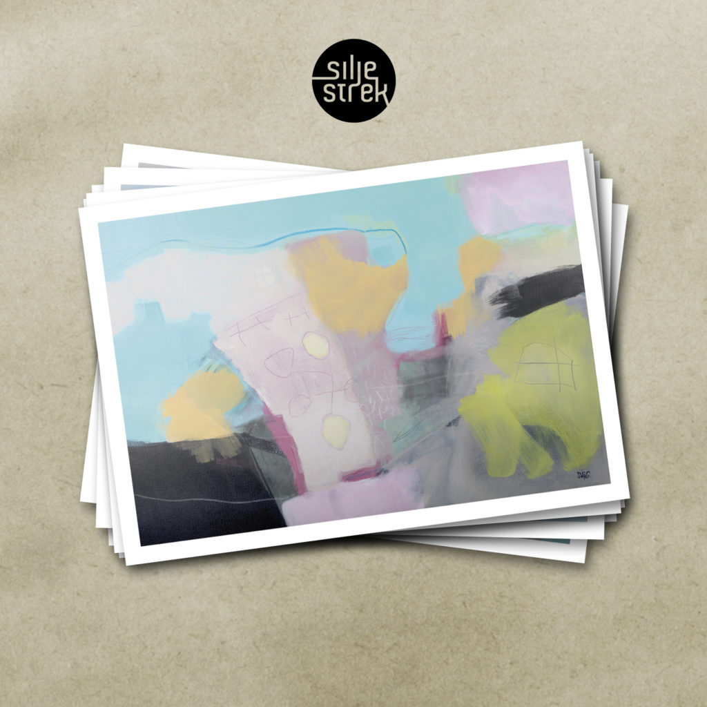 SØTT HUS I SOLNEDGANG <br><br> Kunstkort (4 sider A6) med konvolutt pakket i cellofan, selges enkeltvis, og i pakker med 6 ulike motiver.