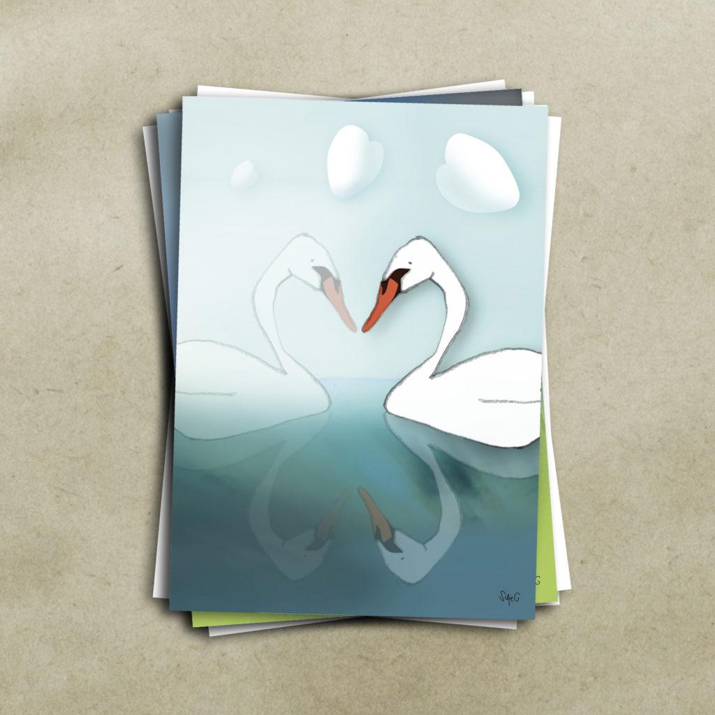 LENGSELSFUGLEN<br><br> Kunstkort (4 sider A6) med konvolutt pakket i cellofan, selges enkeltvis,