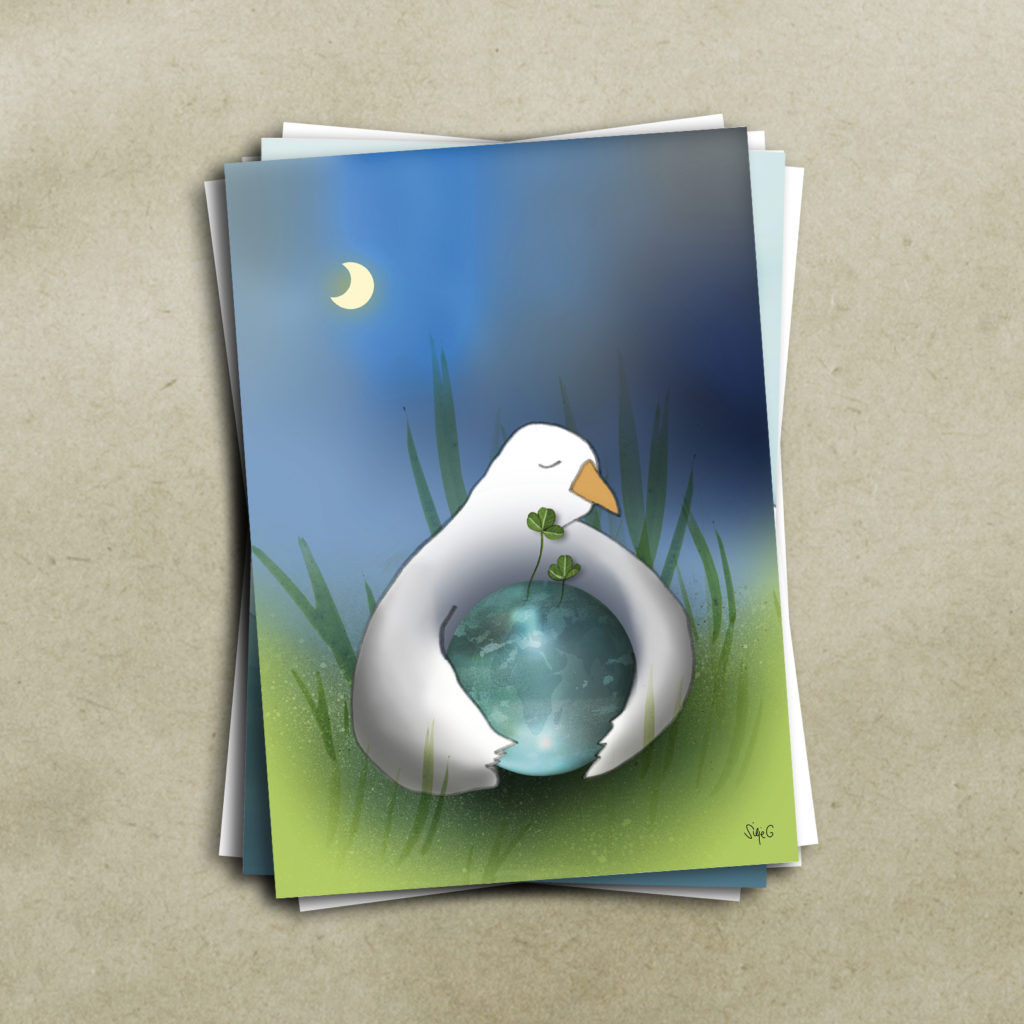 KJÆRLIKGHETSFUGLEN <br><br> Kunstkort (4 sider A6) med konvolutt pakket i cellofan, selges enkeltvis.
